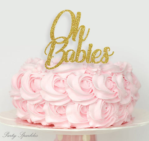 Oh Babies Cake Topper, Twins Cake topper, Twins baby shower cake topper, baby shower decorations, oh baby cake topper, twin cake topper
