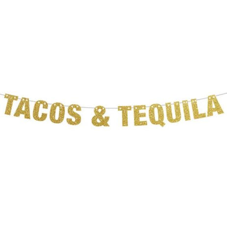 Tacos & Tequila Banner, Taco Banner, Taco Party, Taco Tuesdays Tacos and Tequila Party Banner in  Gold, Silver, Black and Pink