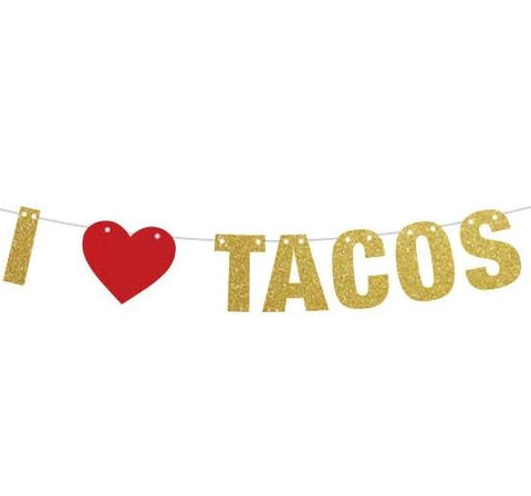 I heart Tacos Banner, I Love Tacos Banner, Taco Party, Taco Tuesdays Tacos and Tequila Party Banner, Fiesta Decorations, Taco bout a Party