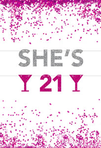 21'st birthday banner, She's 21, 21 Bitches,  Personalized Banner Backdrop, Custom banner, Name, Photo Prop, 21st birthday, RIP Fake ID