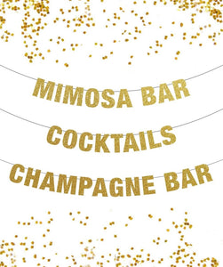 Mimosa Bar Banner, Cocktails Banner, Champagne Bar Banner, New Years Eve Banner, Holiday Banner,  Bubbly Bar, New Year Banner Decor