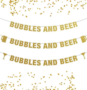 Bubbles and Beer Banner, New Years Brew Banner, Bachelorette Party Banner, Pop Clink Fizz, Bubbly Bar, Chin Chin,New Year Banner Decor