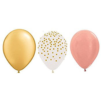 Pink, Rose Gold, Gold Confetti Balloons 12""