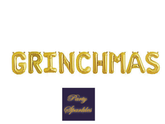 "Grinchmas decor Grinchmas balloons  in rose gold, gold or silver balloons, Christmas balloons, 14"" Balloon Banner for Christmas"
