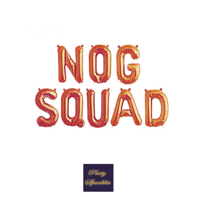 "Nog Squad balloons in rose gold, gold or silver balloons, Egg Nog Christmas balloons, 14"" Balloon, Egg Nog Decor"
