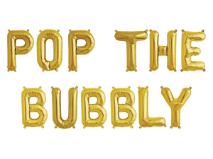 Pop the Bubbly balloons, Brunch Banner, Brunch Balloons in gold, Rose gold  or silver balloons, Bubbly Banner, Brunch and Bubble, Bubbly Bar