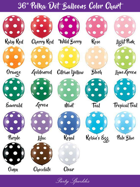 "Giant Polka Dot Balloons, 36"" Latex, Pick Your Color, for Birthday, Baby Shower, Party Decor, or Event Decorations"