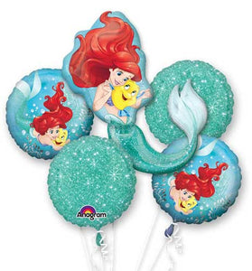 SALE Little Mermaid Birthday Balloon Bouquet, Ariel 5 Piece Balloons, , Birthday Balloons, Foil Balloon Bouquet, Disney Balloons, Ariel