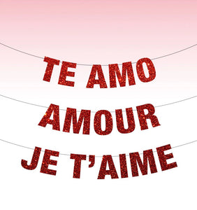 Te Amo Banner, Amour Banner, Je T'aime Banner, Love Banner, Valentines Day Decor, Valentine's Day, Love is Love, Be My Valentine Party Decor