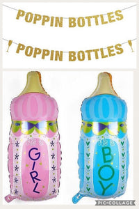 Poppin Bottles Banner, Poppin Bottles baby Shower Decor, Poppin Bottles, Baby Shower Bottle Balloons, Baby Shower Banner, Baby Shower Ideas