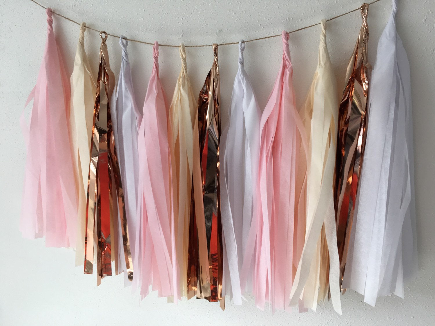 Tassel garland rose gold, Rose Gold Party decorations, tissue tassel garland, Rose gold wedding decor, shower, birthday party decor