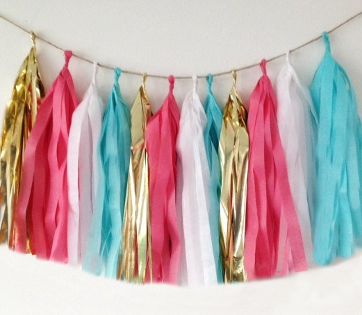 Tassel banner turquoise, tassel banner Hot Pink, White, gold and Turquoise, tissue tassel garland, shower, birthday party decor