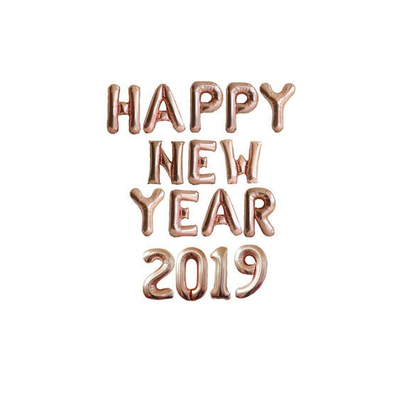 "Happy New Year Balloon Kit  14"" Balloons SALE PRICE Happy New Year Gold, Silver, Rose Gold Foil Balloon, 2019 Balloons HNY Silver"
