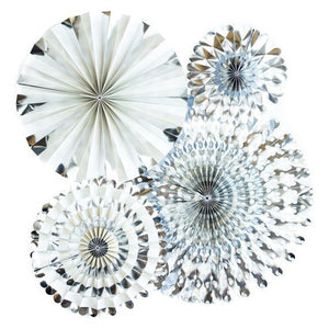 Silver Party Fans, Rosettes Backdrops for Birthdays, Baby Showers and Bachelorette Parties