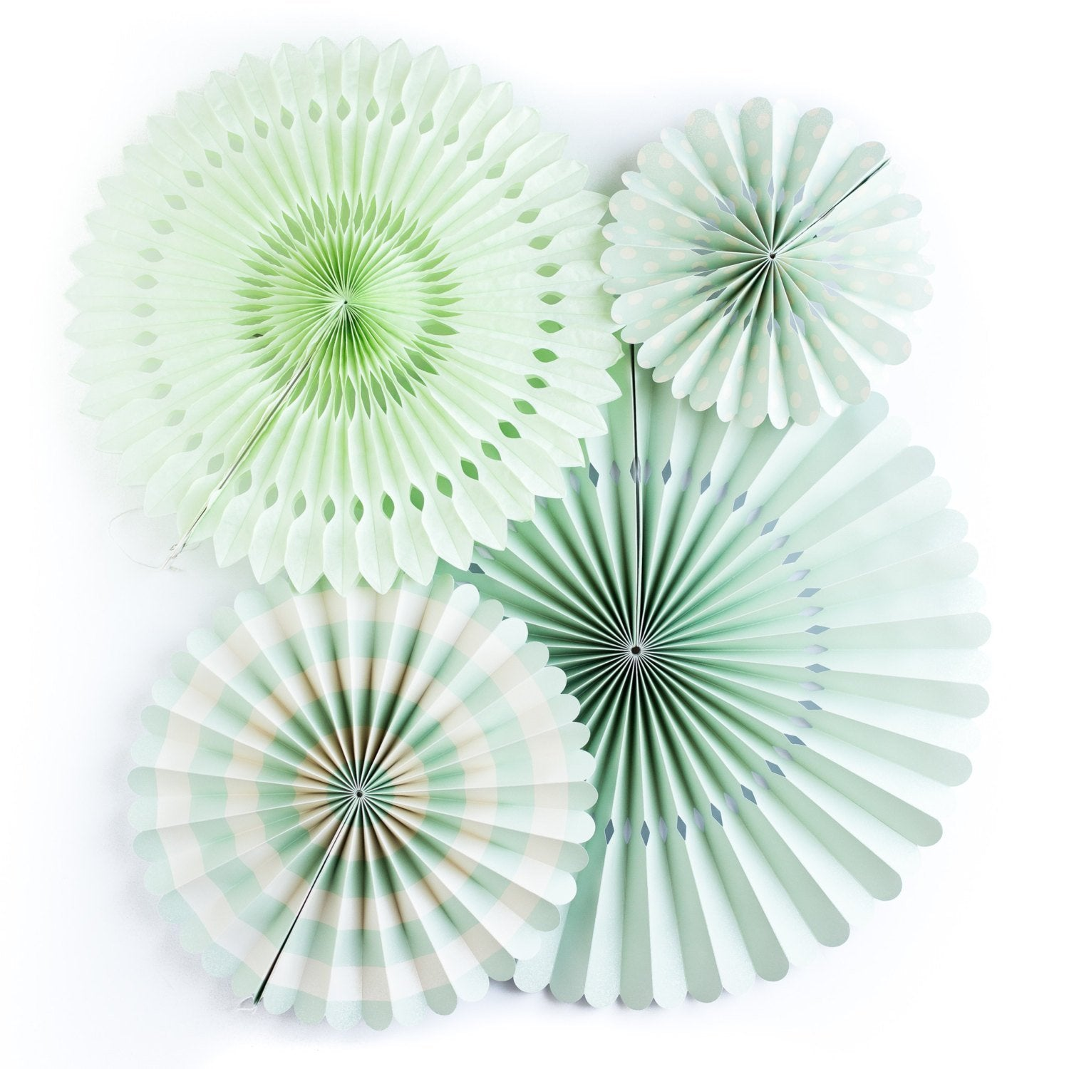 Mint Party Fans, Rosettes Backdrops for Birthdays, Baby Showers and Bachelorette Parties