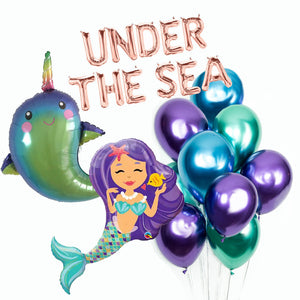 Mermaid  Balloons, Under The Sea Balloons, Narwal Balloons, Mermaid Backdrop, Metallic Chrome Mermaid Balloons, mermaid decor, mermaid party