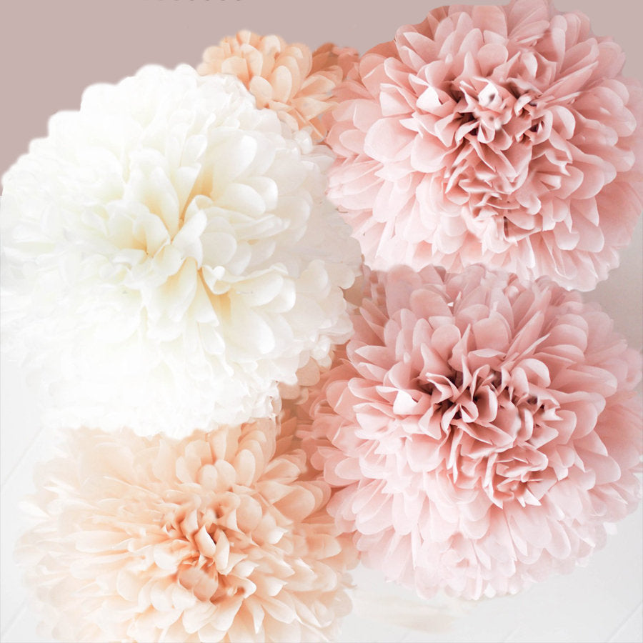 Blush, Champagne & Ivory Tissue Paper Poms a 5-10 Piece Set