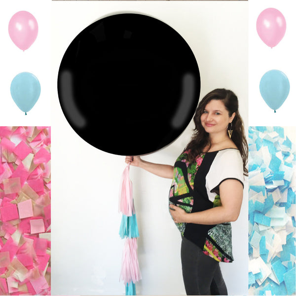 "Big Gender Reveal Balloon Black 36"" with Pink and Blue Tassel"