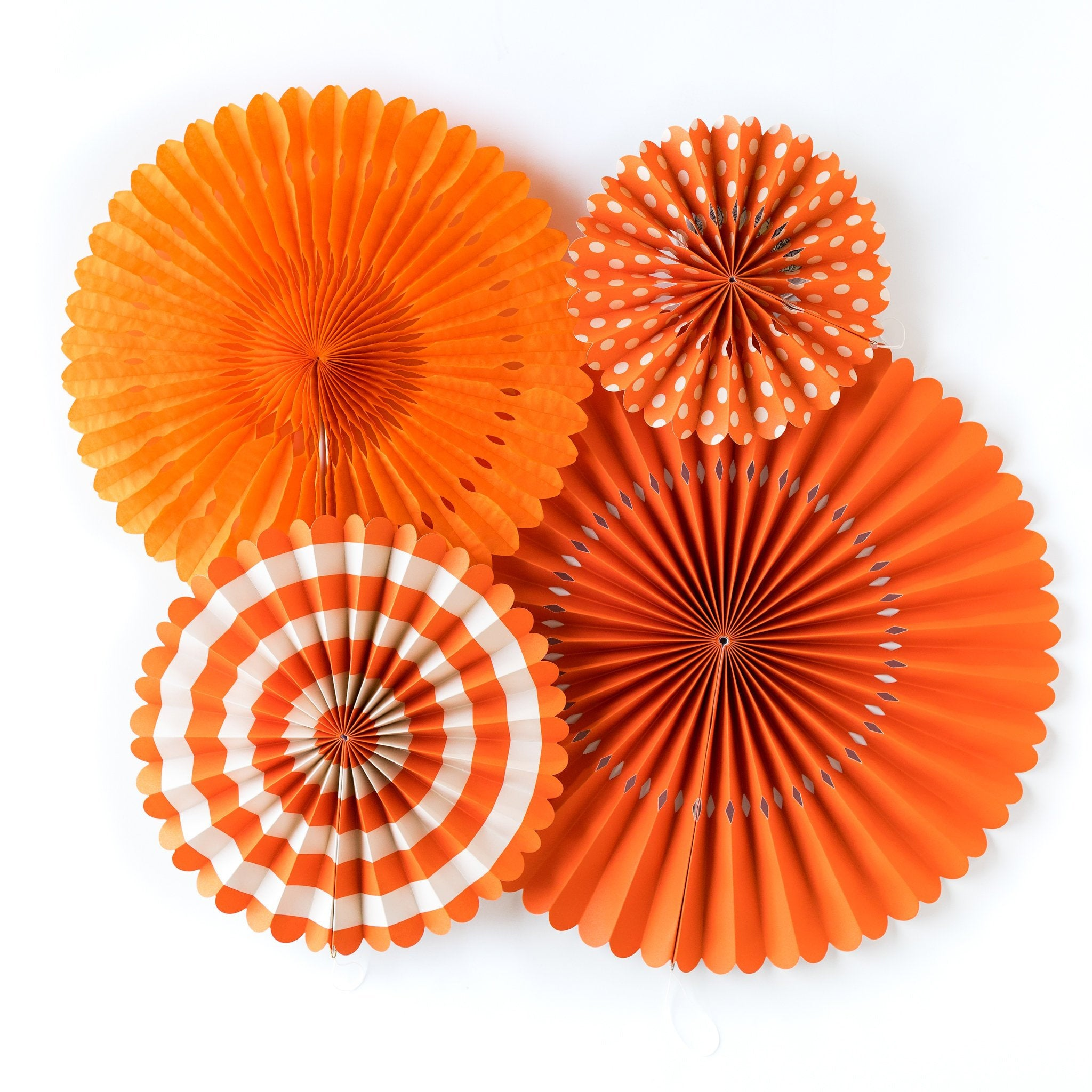 Orange Party Fans, Rosettes Backdrops for Birthdays, Baby Showers and Bachelorette Parties