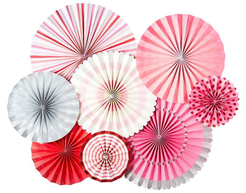 Pink Rosettes, Hot Pink Pink fans, Blush Pink backdrop birthday, Pink rosettes,Hot Pink rosettes party, Baby Pink Party decor