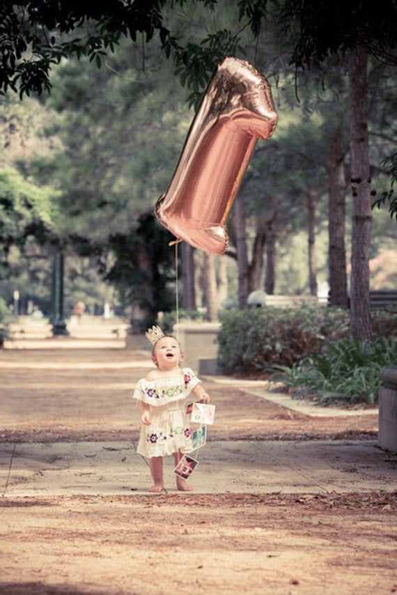 Rose Gold Number Balloon First Birthday