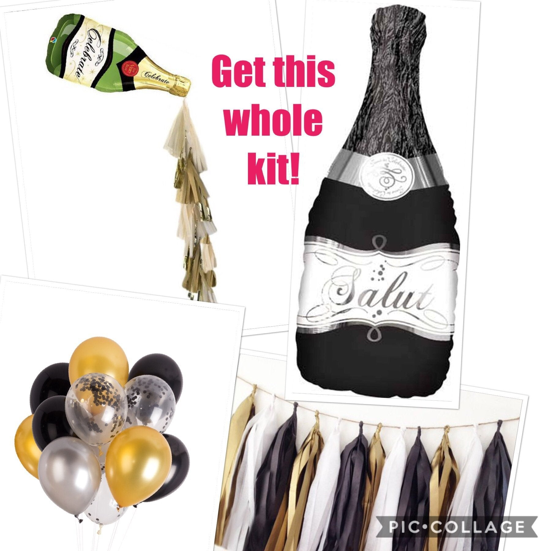 Champagne Bottle Balloon Garland Kit with spout, Bachelorette, Wedding Photo Booth,  Backdrop, New Year's Eve Decor, Wedding Decor, Shower