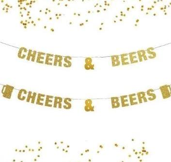 Cheers and Beers Banner, News Year  Eve Decoration Party Decor, Wedding Beer Lover, Anniversary Ideas