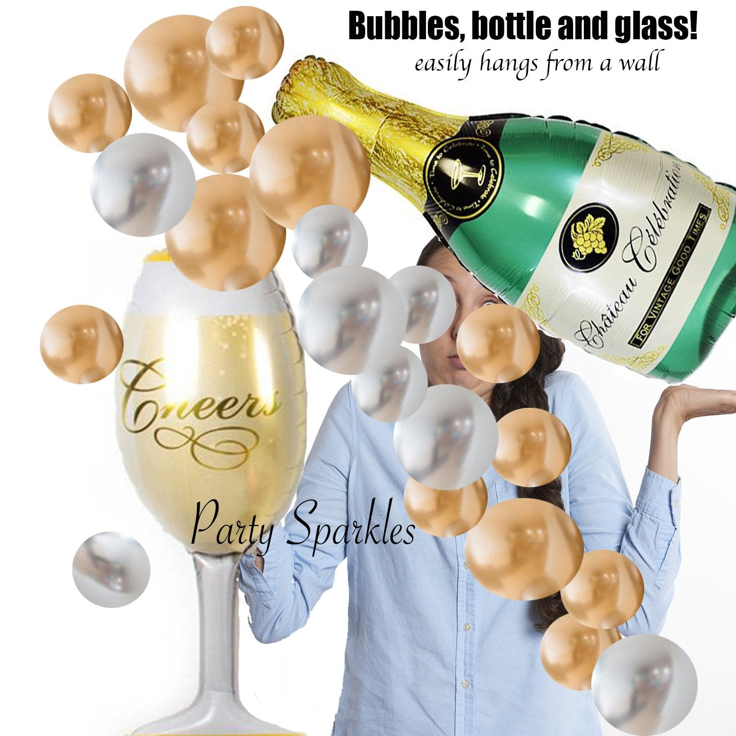New Years Eve  Party Balloons Champagne Bottle Balloon Bouquet, Champagne Flute Christmas Wedding Bubbles Backdrop, Engagement Party decor