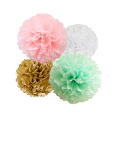 Tissue Paper Pom Poms Kit, Pink and Mint Green and Gold for Gender Reveal Parties, Birthday Celebrations and Baby Showers