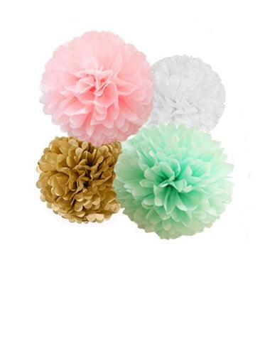 Tissue Paper Pom Poms Kit, Pom Decor Pink and Mint Green Gender Reveal, Pink and Gold Baby Shower and Birthday Party Supplies