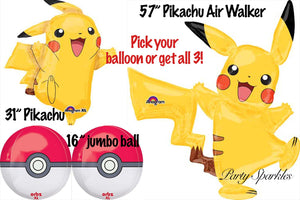 Pokemon Balloons, Pikachu Birthday Party Decoration Ideas, Pokemon Go Ball Decor, Supplies, Yellow, Black and red Poms, Tassels Backdrop