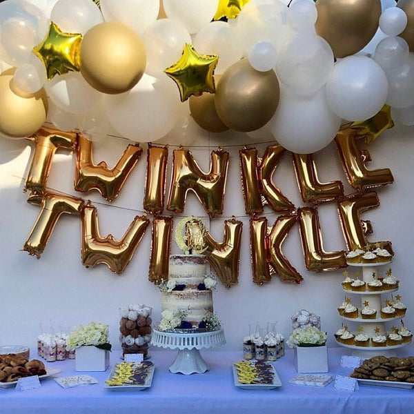 Twinkle, Twinkle Banner Letter Balloons for baby shower, gender reveal or birthday