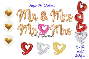Mr & Mrs Script Balloons, Heart Link Balloons, Wedding Party Decorations, Anniversary and Bachelorette Party Decor, Valentines Balloons