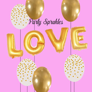 LOVE Balloon Rose Gold, Silver, Gold Kit for Valentines Day Decor, Engagement Party, Bachelorette decorations, Baby Shower Backdrop