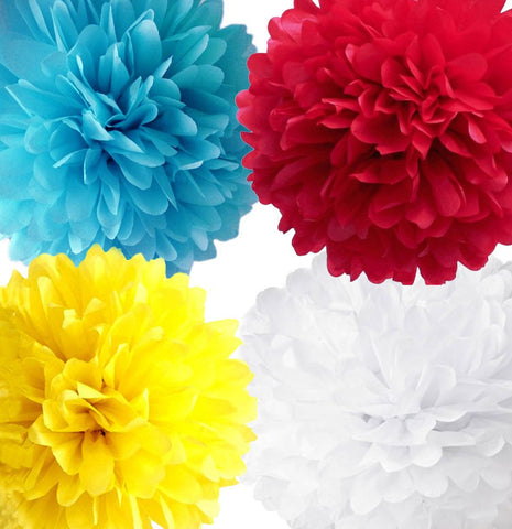Carnival and Circus Tissue Pom Poms  Red, Aqua, Yellow and White set of 4