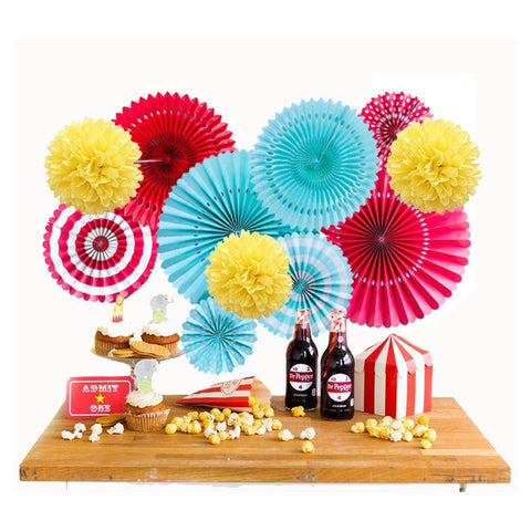 Carnival or Circus Party Backdrop Rosettes and Poms a Circus Themed Party Ideas, Birthday Decorations, Theme Red, White, Yellow and Aqua Party Decor