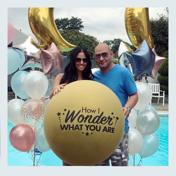 Gold How I Wonder What You Are Gender Reveal Balloon Twinkle Twinkle Little Star Reveal Party