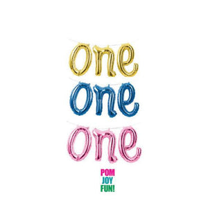 ONE Script Foil Balloon in Gold, Pink, or Blue for First Birthday Decor Celebrations and Party Decorations Girl or Boy Photo Banner