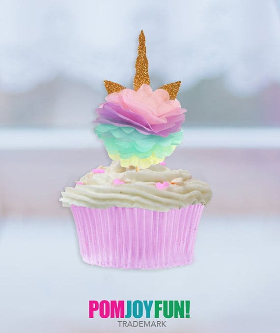 Unicorn Cupcake Toppers, Brithday Pary Ideas, Pink Purple, Mint Yellow, Gold Horn