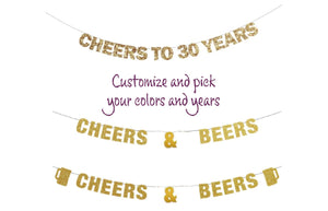 Cheers to 30 years Banner or Cheers & Beers Banner