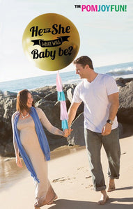 "He or She what it be balloon, a 36"" Gender Reveal Balloon with confetti and tassel"