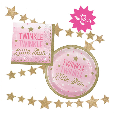 Twinkle Twinkle Little Star Plates and Napkins in Pink and Gold
