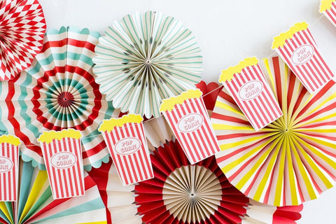 Popcorn Banner for a Movie Night Party, Carnival Party or a Circus Theme Party