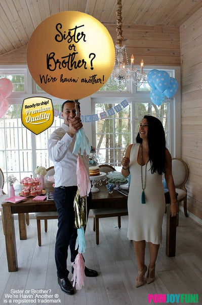 Sister or Brother Gender Reveal Balloon with tassels and pink and blue confetti