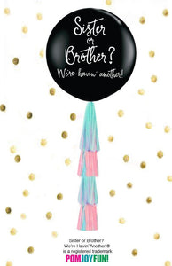 Sister or Brother Black or Gold  Gender Reveal Balloon with tassel garland and pink and blue confetti