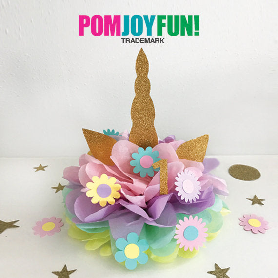 Unicorn Party Centerpiece or Cake Topper Decoration for Birthday Party Decor Baby Shower or Gender Reveal Decorations Pink Purple Mint Gold