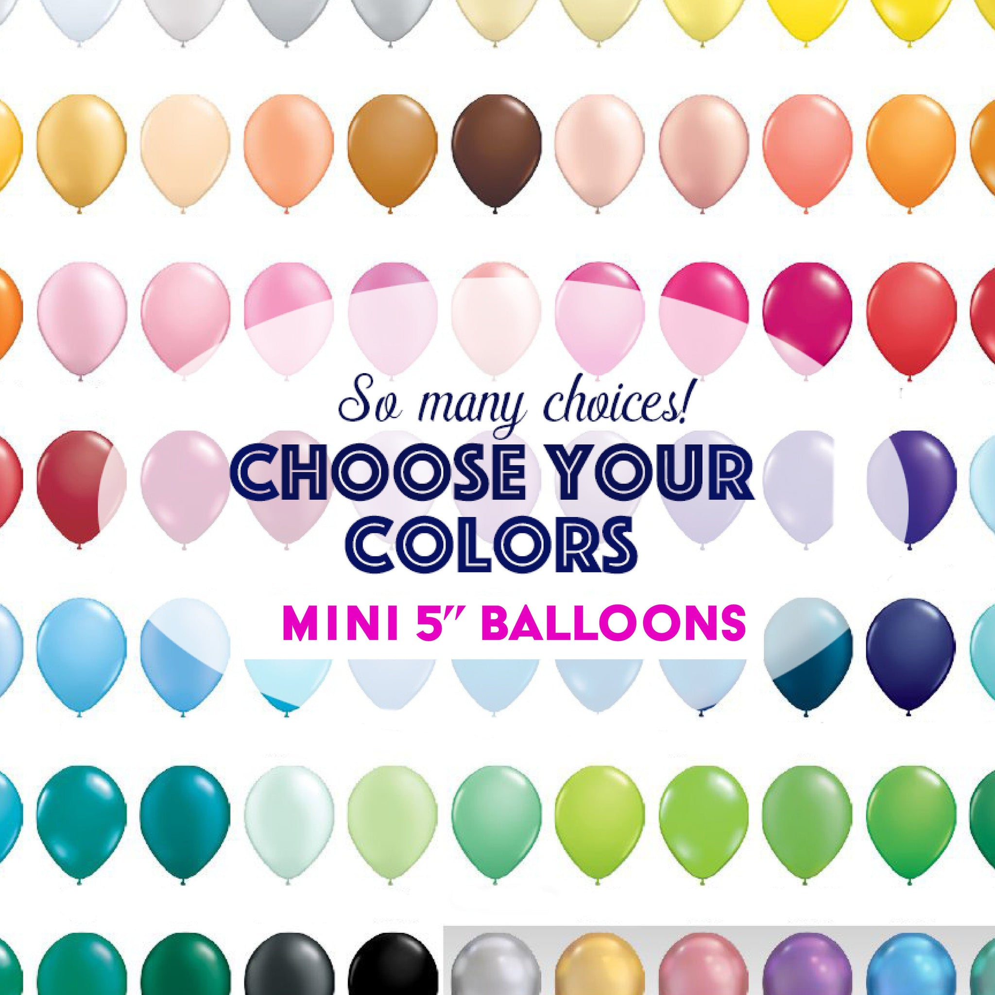 "Mini Balloons 5"" Mini Latex Party Mix Custom Colors for Bridal Shower, Baby Shower, or Birthday"