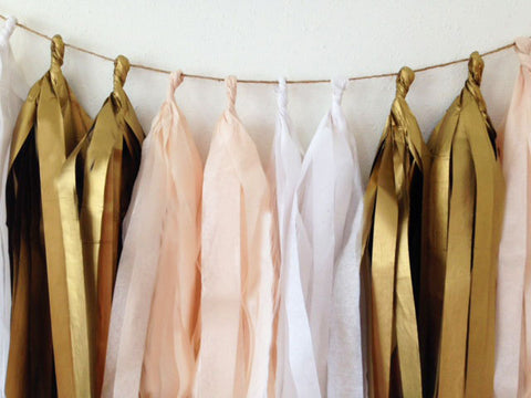 Peach, White and Vintage Gold tissue tassel garland, baby shower, wedding, birthday, decorations