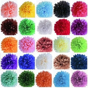 10 Tissue Pom Poms, Pom Pom Garland flowers - over 60 colors to choose from!