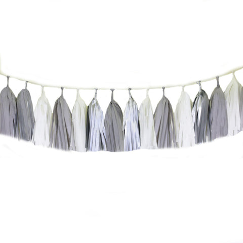 Gray tassel garland, silver tissue tassels for weddings, birthdays, and bachelorette party decor